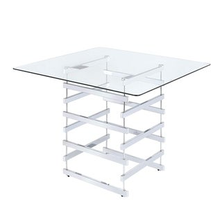 Link to Mirror Top Counter Height Table With Metal Architectural Base, Chrome & Clear Similar Items in Dining Room & Bar Furniture