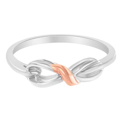 Two-Tone Rose-Plated Sterling Silver Infinity Ring