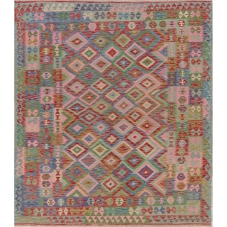 "Tribal Pastel Hand Woven Kilim Turkish Geometric Area Rug Southwestern - 9'8"" X 6'10"""