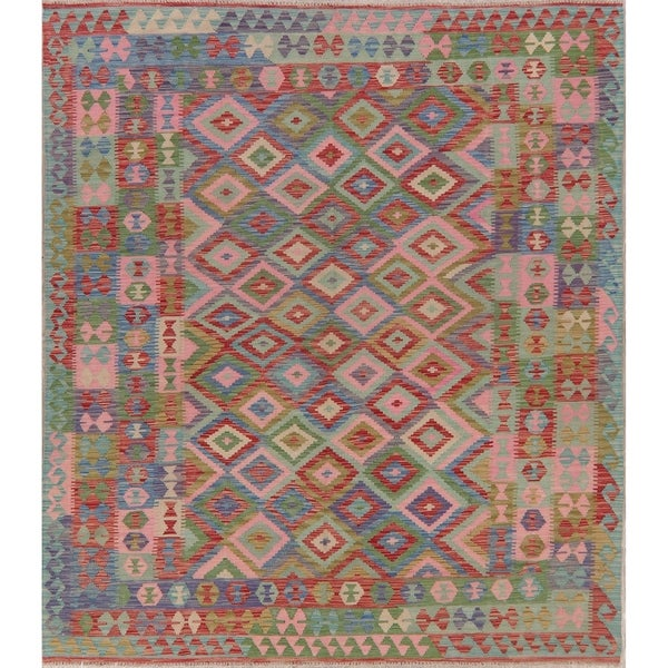 "Tribal Pastel Hand Woven Kilim Turkish Geometric Area Rug Southwestern - 9'8"" X 6'10"""