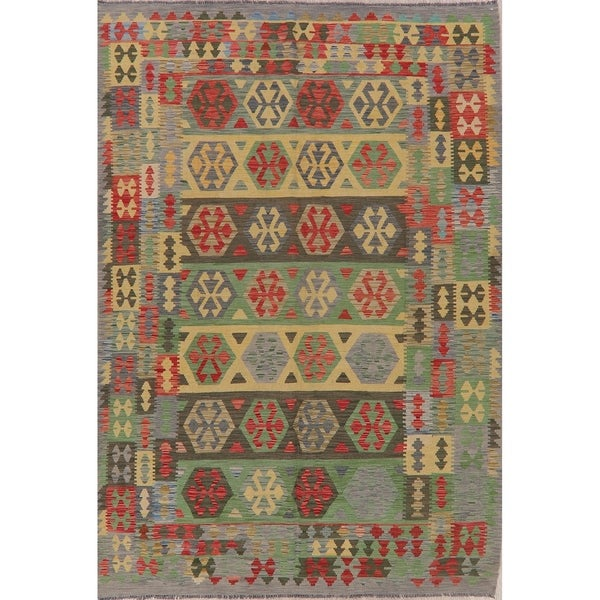 "Tribal Pastel Flat Woven Southwestern Kilim Turkish Geometric Area Rug - 9'8"" X 6'8"""