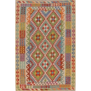 "Pastel Flat Woven Southwestern Kilim Tribal Turkish Geometric Area Rug - 8'2"" X 5'6"""
