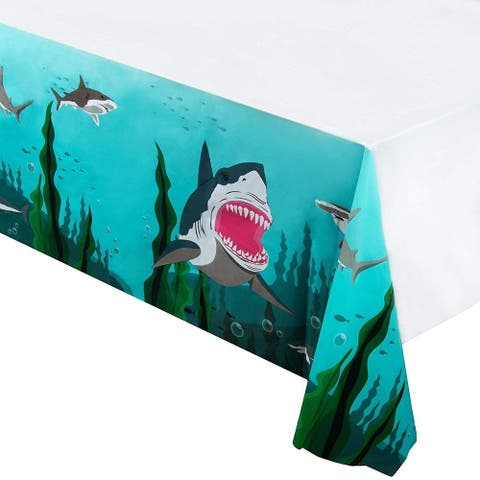 "6pcs 54x108"" Shark Event Disposable Plastic Rectangular Table Covers Tablecloths"