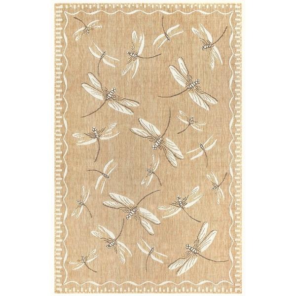 """Liora Manne Carmel Dragonfly Indoor/Outdoor Rug Dark Sand 7'10""""X9'10"""""""