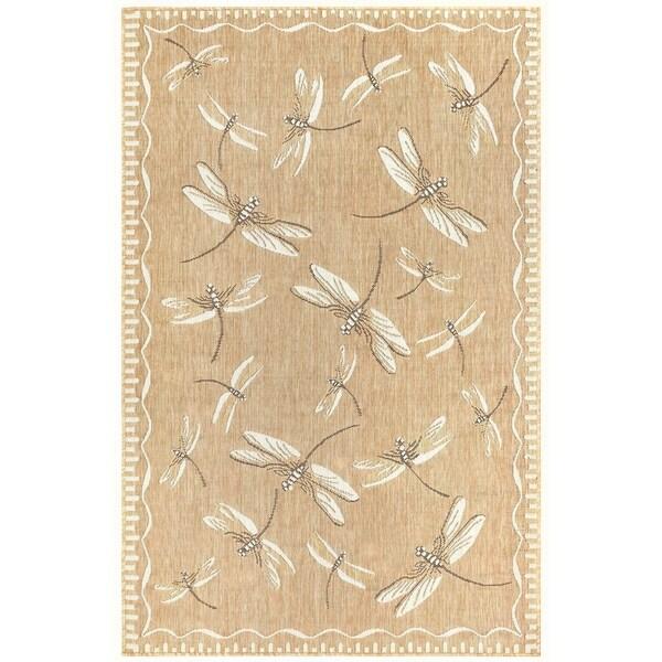 """Liora Manne Carmel Dragonfly Indoor/Outdoor Rug Dark Sand 4'10""""X7'6"""""""