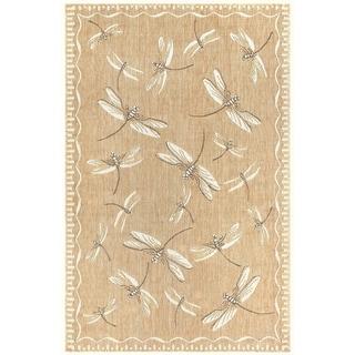 """Liora Manne Carmel Dragonfly Indoor/Outdoor Rug Dark Sand 39""""X59"""""""