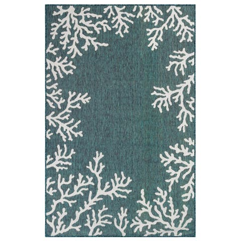 "Liora Manne Carmel Coral Border Indoor/Outdoor Rug Teal 8'10""X11'9"""