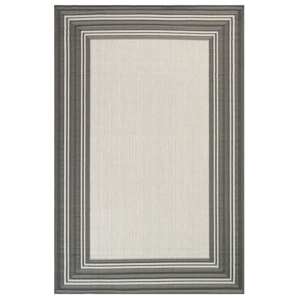 "Liora Manne Carmel Multi Border Indoor/Outdoor Rug Grey 7'10"" SQ - 7'10"" SQ"