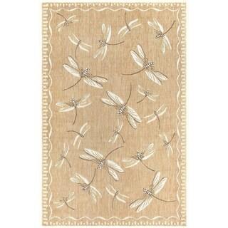"Liora Manne Carmel Dragonfly Indoor/Outdoor Rug Dark Sand 7'10"" RD - 7'10"" RD"