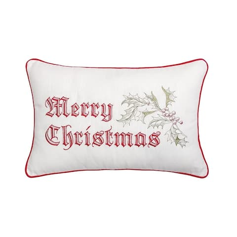 Wenham Holly Christmas Embroidered Accent Decorative Accent Throw Pillow