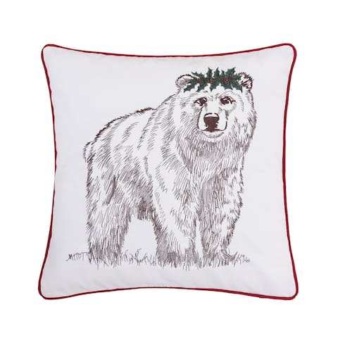 Holly Crown Embrodiered Accent Decorative Accent Throw Pillow
