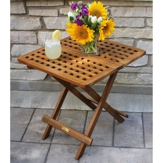 Link to Eilaf Eucalyptus Folding Side Table by Havenside Home Similar Items in Patio Furniture