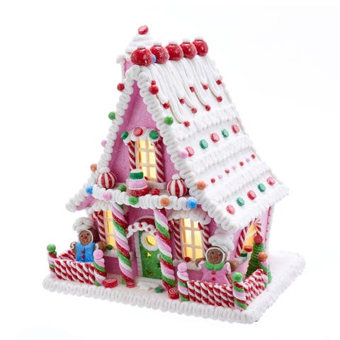 Kurt Adler 10-Inch Pink Battery-Operated Candy LED Gingerbread House Table Piece
