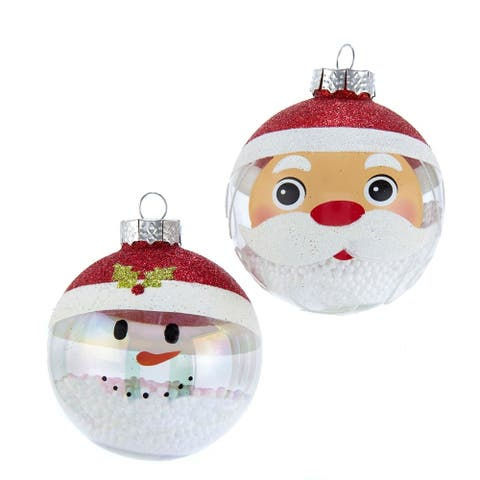Kurt Adler 80MM Clear and White Santa and Snowman Glass Ball Ornaments, 6 Piece Box