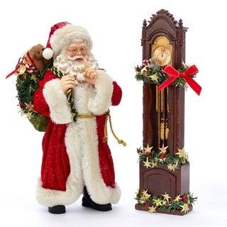 Kurt Adler 12-Inch Fabriché™ Santa and Clock, 2 Piece Set