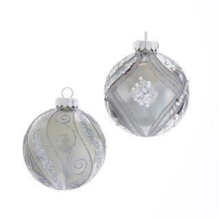 Link to Kurt Adler 80MM Matte and Shiny Silver with Glitter Glass Ball Ornaments, 6 Piece Box Similar Items in Christmas Decorations