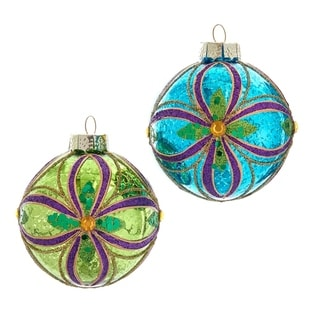Link to Kurt Adler 80MM Green, Blue, Gold and Purple Glass Ball Ornaments, 6 Piece Box Similar Items in Christmas Decorations