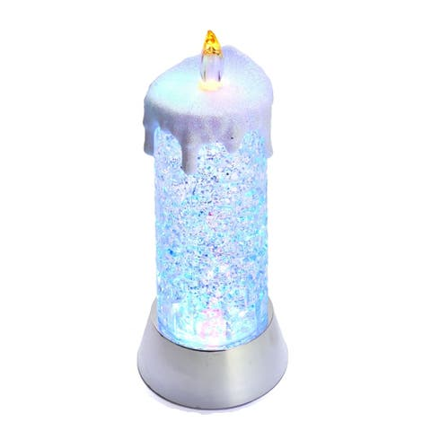 Kurt Adler 9.25-Inch Battery-Operated Color Changing Snowing Candle