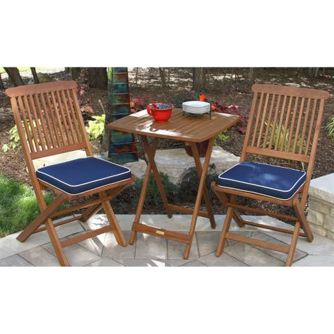 Eilaf 3-piece Square Bistro Set with Blue Cushions by Havenside Home
