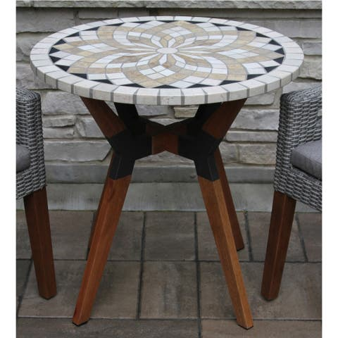 Islara 30-inch Marble Mosaics Bistro Table with Mixed Material Base by Havenside Home