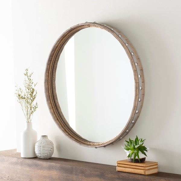 """Amos Rustic Farmhouse 28.75-inch Round Mirror - 28.75"""" x 28.75"""". Opens flyout."""