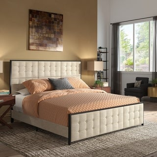 Hyrra Beige Upholstered Bed with Gunmetal Frame by iNSPIRE Q Modern
