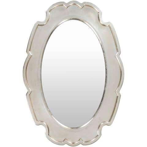"""Bella Antiqued Silver Scroll 28 x 40-inch Oval Mirror - 28"""" x 40"""""""