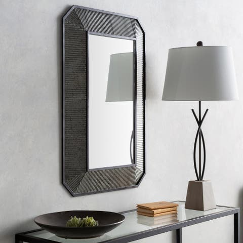 """Marin Farmhouse Faceted Metal 24 x 36-inch Mirror - 24.25"""" x 36.25"""""""