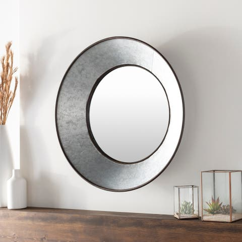 "Marcie Farmhouse Galvanized Metal 31.75-inch Round Mirror - 32"" x 32"""