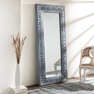 "Gloria Grey Bohemian Stamped Metal 35 x 75-inch Mirror - 35"" x 75"""