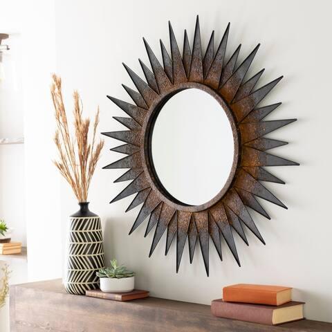 """Joleen Antiqued Iron 36-inch Sunburst Mirror - 36"""" x 36"""""""