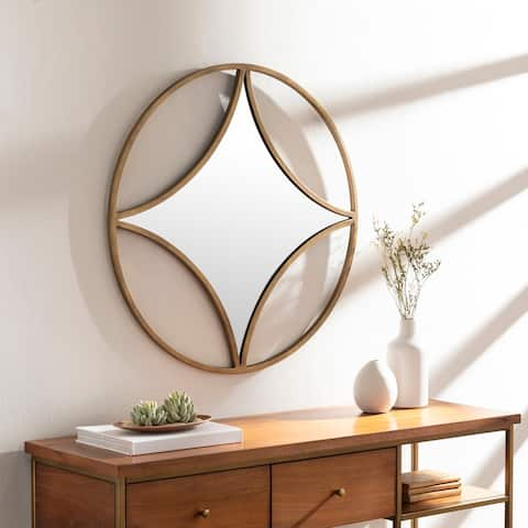 "Lorena Golden Circle Diamond 30-inch Mirror - 30"" x 30"""