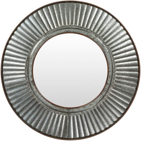 "Renya Farmhouse Galvanized Metal 30-inch Round Mirror - 30"" x 30"""
