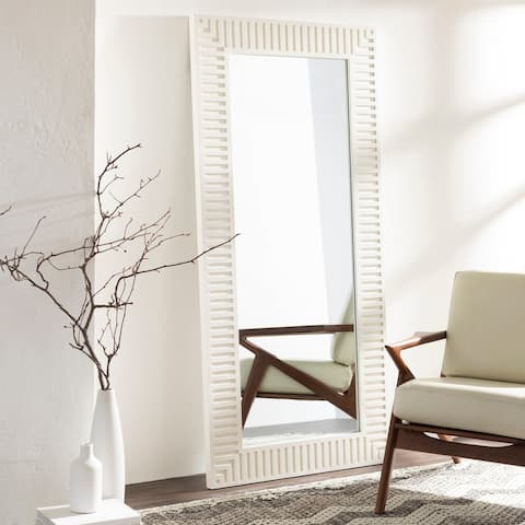 """Stacy Ivory Striped Wooden 35 x 75-inch Mirror - 35"""" x 75"""""""
