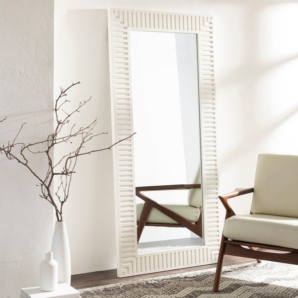 "Stacy Ivory Striped Wooden 35 x 75-inch Mirror - 35"" x 75"""