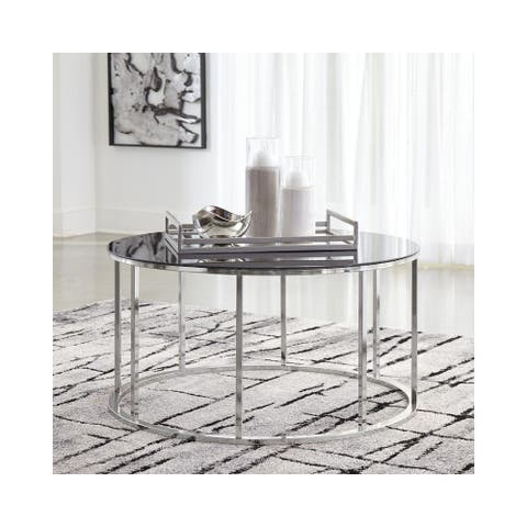 Black/Chrome Finish Clenco Round Cocktail Table