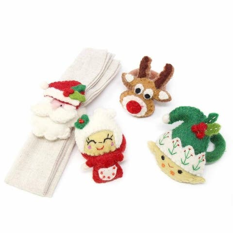Handmade Felt Christmas Napkin Ring, Set of 4 (Nepal)