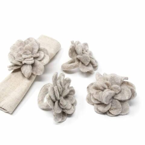 The Curated Nomad Thrift Handmade Felt Zinnias Napkin Rings (Set of 4)