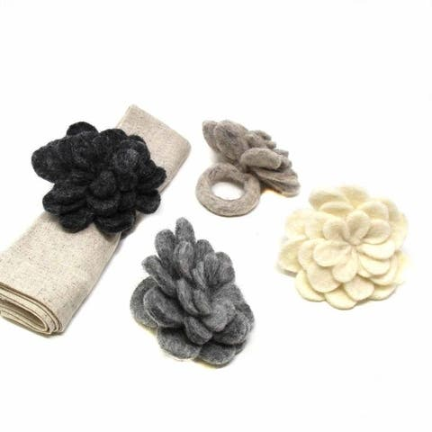 The Curated Nomad Thrift Handmade Felt Zinnias Napkin Rings (Set of 4)