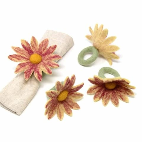 The Curated Nomad Thrift Handmade Felt Coneflower Napkin Rings (Set of 4)