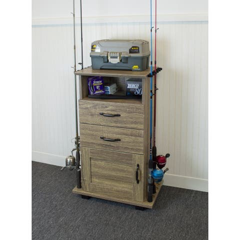 OS HOME Model 703 Fishing Storage and Organization Cabinet with two drawers in Rough sawn Barnwood Laminate
