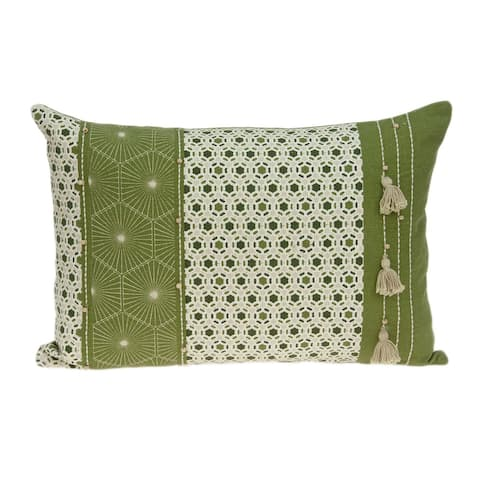 Parkland Collection Omini Tropical Green Pillow Cover With Poly Insert