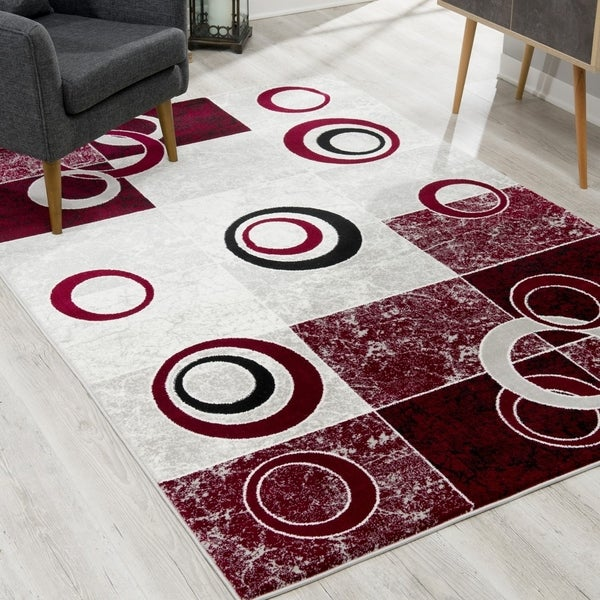 Rug Branch Montage Modern Abstract Area Rug and Runner, Grey Red
