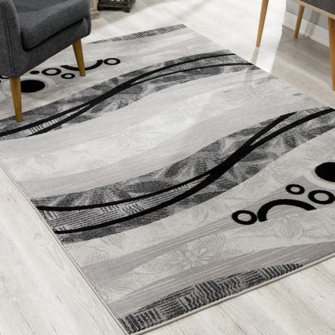Rug Branch Montage Modern Abstract Area Rug and Runner, Dark Grey
