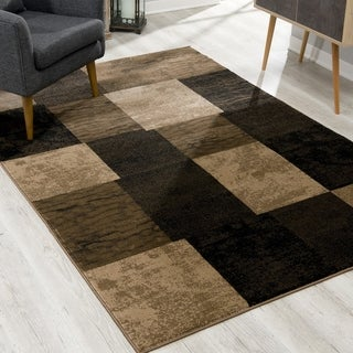 Rug Branch Montage Modern Abstract Area Rug and Runner, Brown