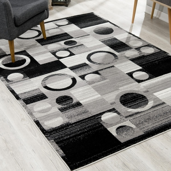 Rug Branch Montage Modern Abstract Area Rug and Runner, Grey / Gray