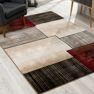 Rug Branch Montage Modern Abstract Area Rug and Runner, Beige Brown