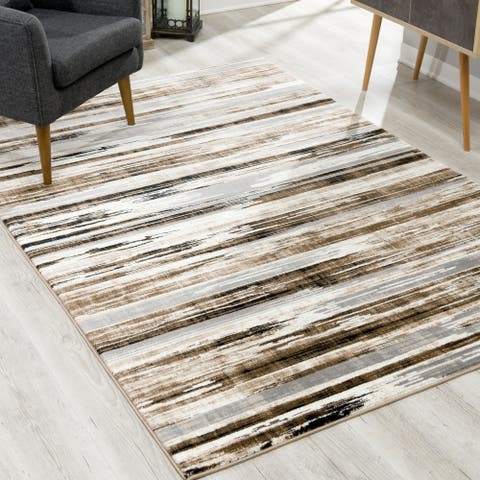 Rug Branch Montage Modern Abstract Area Rug and Runner, Beige