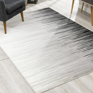 Rug Branch Montage Modern Abstract Area Rug and Runner, Grey Black