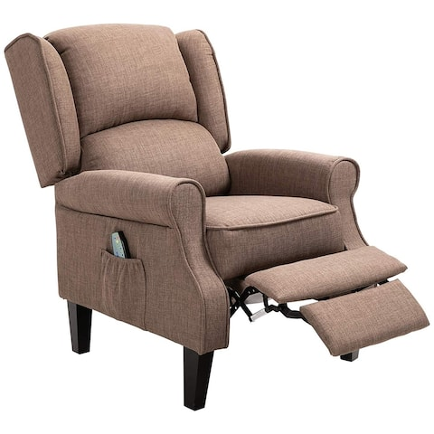 Heated Vibrating Massage Recliner Chair with Linen Upholstery